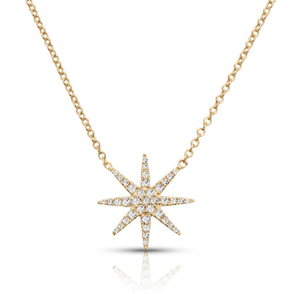 Diamond Star Necklace, 14K Yellow Gold