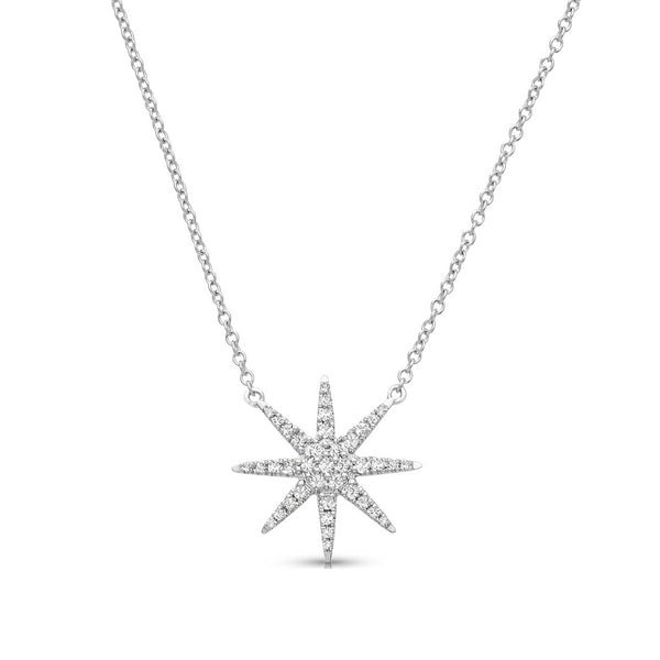 Diamond Star Necklace, 14K White Gold