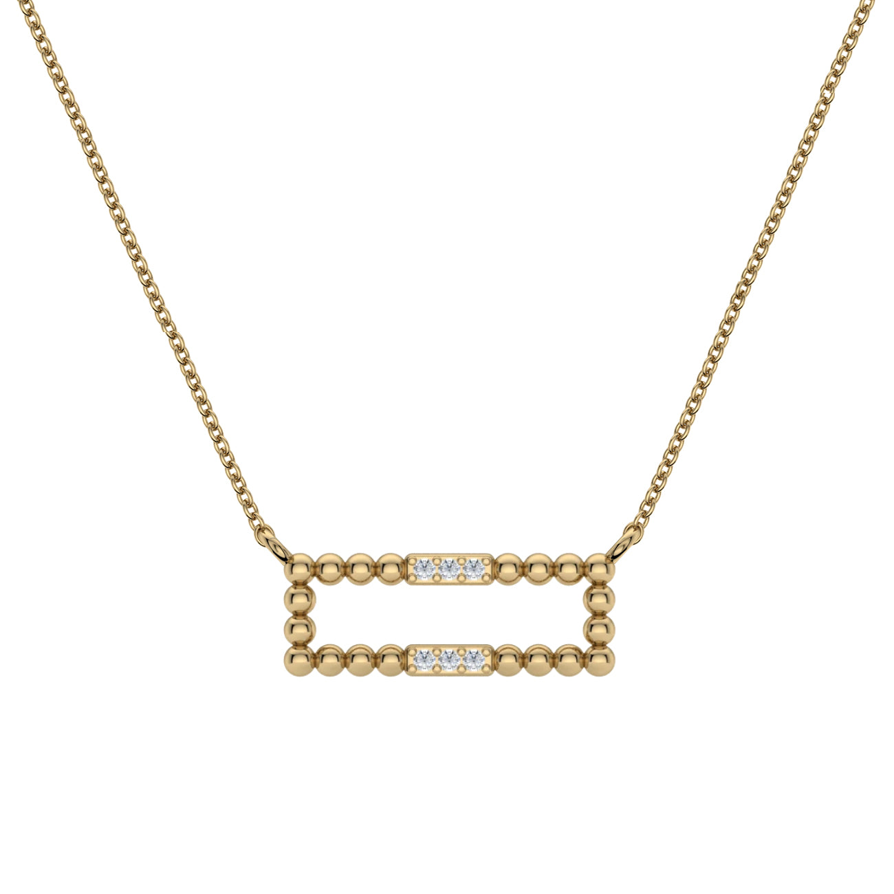 Diamond and Bead Bar Necklace, 14K Yellow Gold