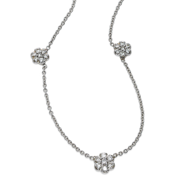 Flower Cluster Diamond Three Station Necklace, 1.05 Carats, 14K White Gold