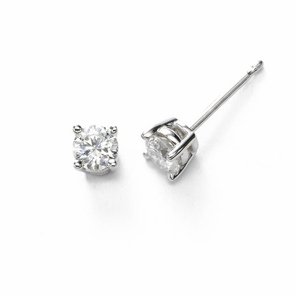 Diamond Stud Earrings, .50 Carat Total, H/I SI2, 14K White Gold
