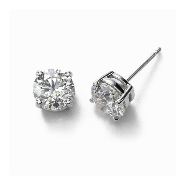 Diamond Stud Earrings, 2.03 Carats Total, G/H-SI2, 14K White Gold
