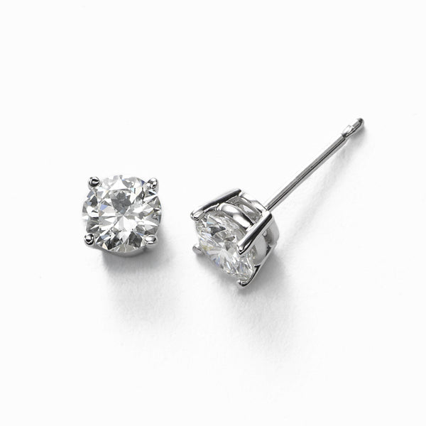 Diamond Stud Earrings, .80 Carat total, H/I-SI1/SI2, 14K White Gold