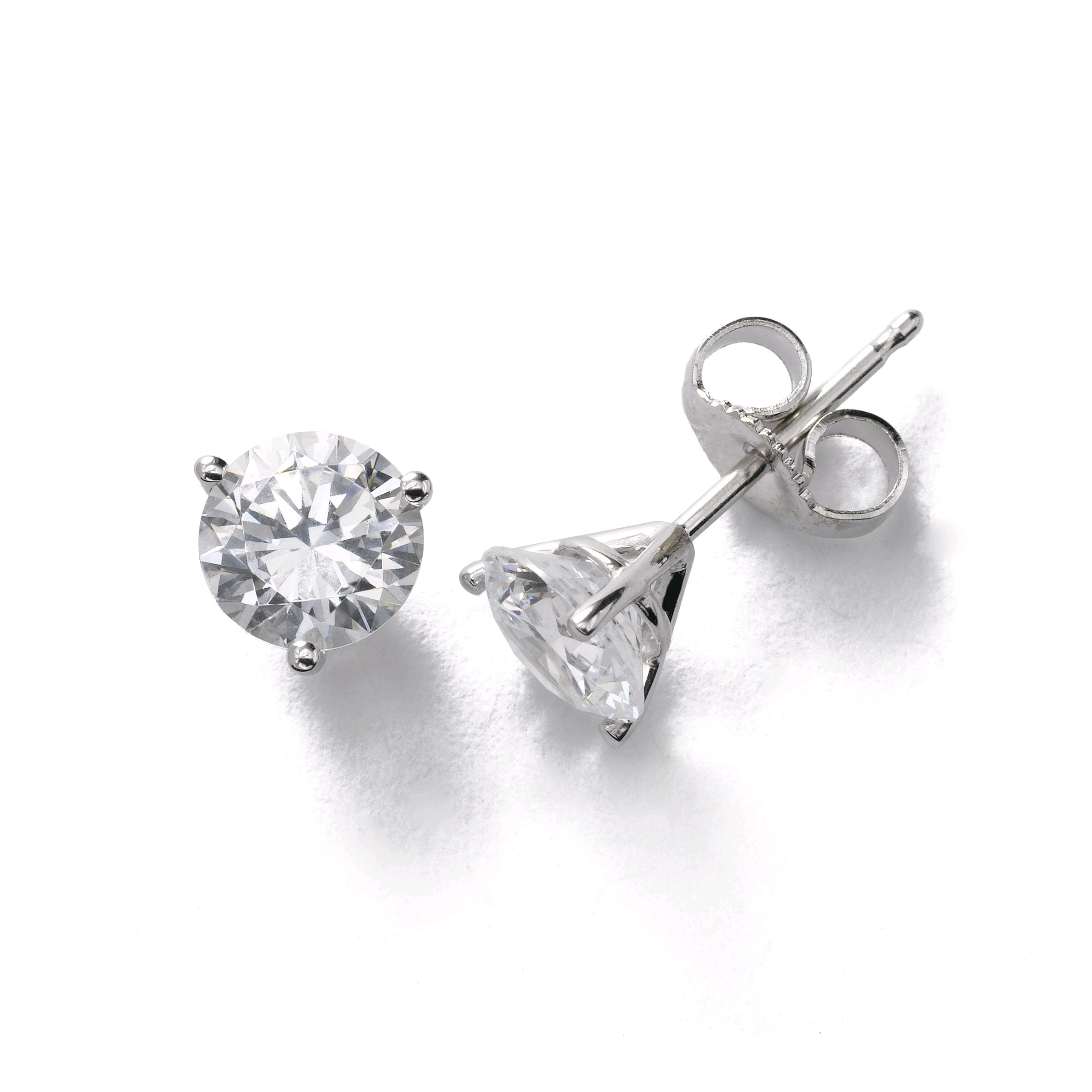 Three Prong Diamond Stud Earrings, 2.13 Carats Total, I-VS2, 18K White Gold