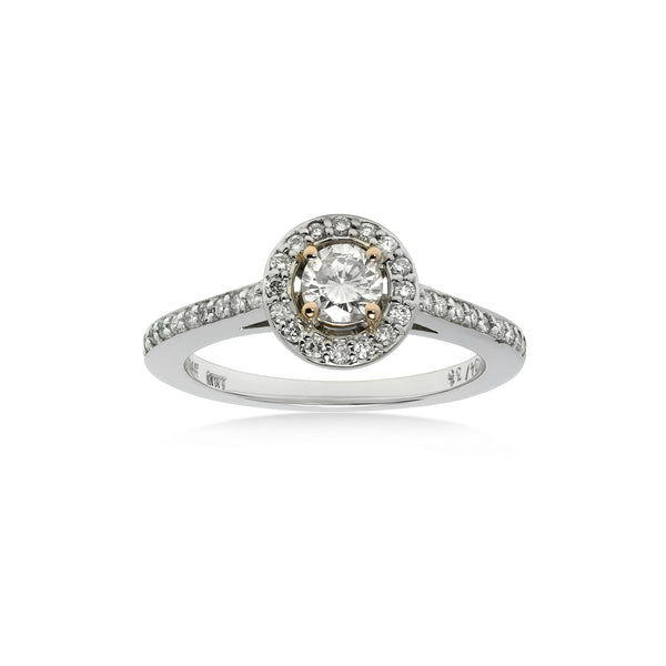 Fancy Light Pink Diamond Halo Ring, 14K White Gold