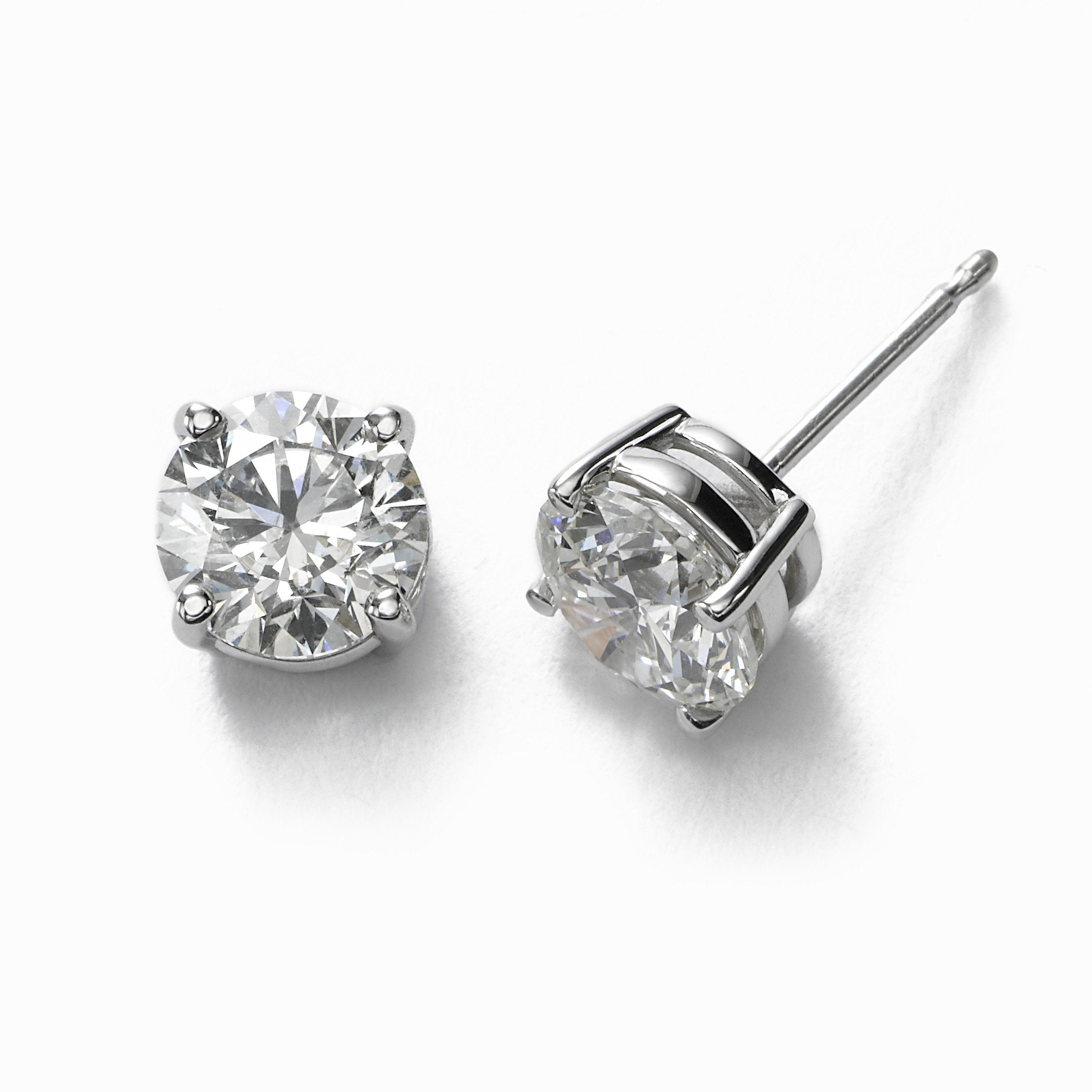 Diamond Stud Earrings, 1.77 Carats Total, H/I/J-I2, 14K White Gold