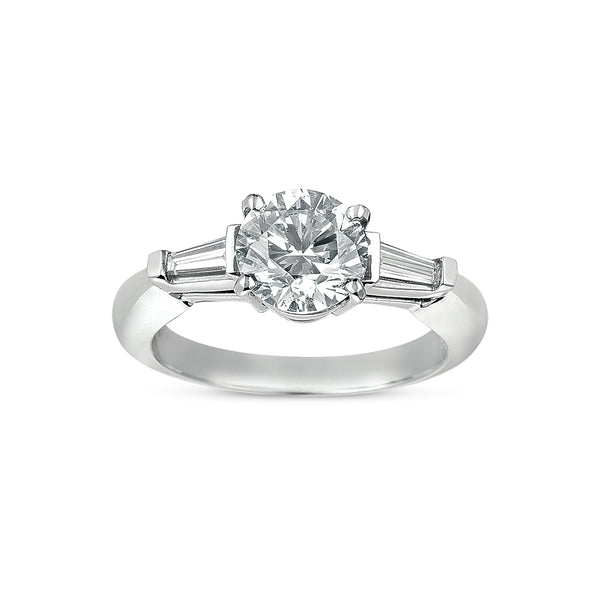 Three Stone Diamond Ring with Tapered Baguettes, Platinum