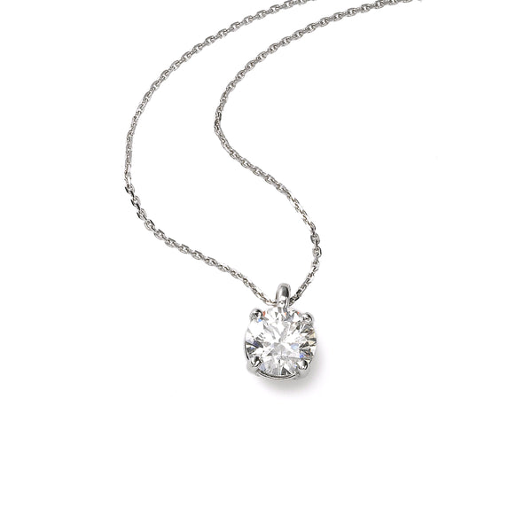 Diamond Solitaire Pendant, .50 Carat, 14K White Gold