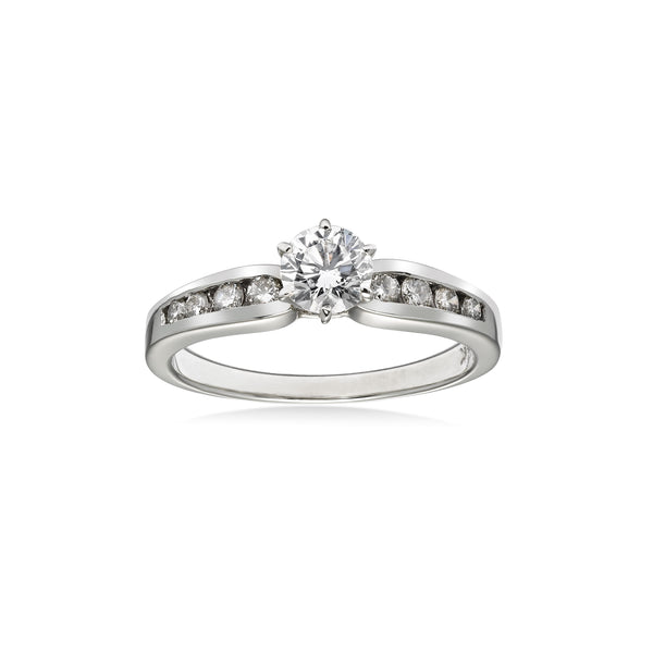 Round Diamond in Channel Setting Ring, .50 Carat Center, 14K White Gold