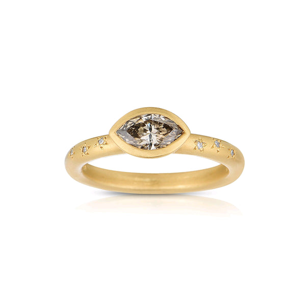 Marquise Shape Fancy Brown Diamond Ring, 14K Yellow Gold