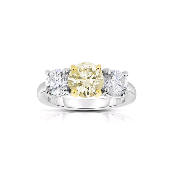 Fancy Light Yellow Three Stone Diamond Ring, Platinum with 18 Karat Gold