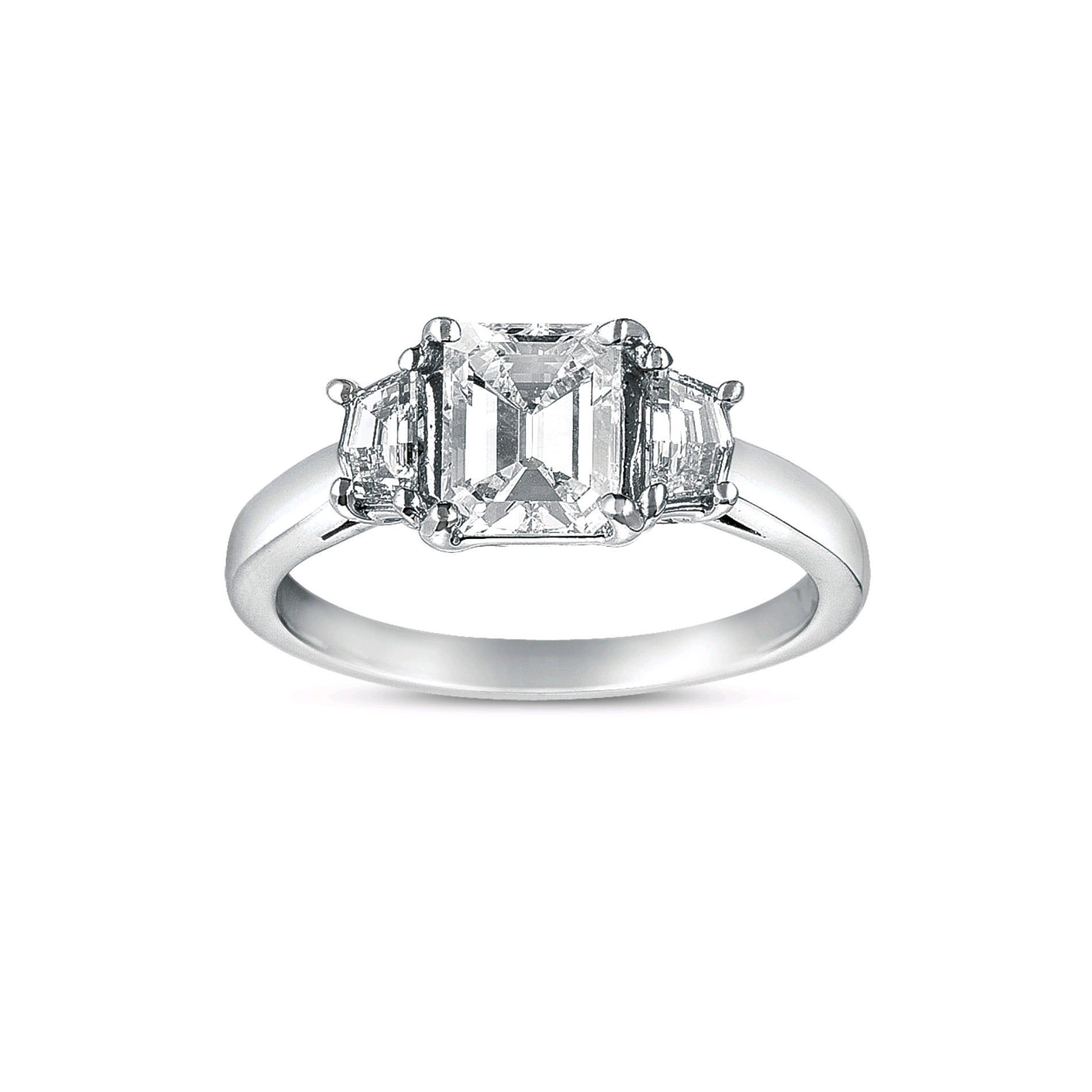 Emerald Cut Three Stone Diamond Ring, 18K White Gold