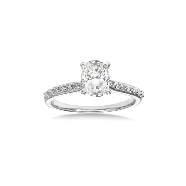Oval Diamond Engagement Ring, 1.01 Carats Center, 14K White Gold