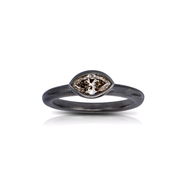 Marquise Shape Fancy Brown Diamond Ring, 18K White Gold Black Rhodium