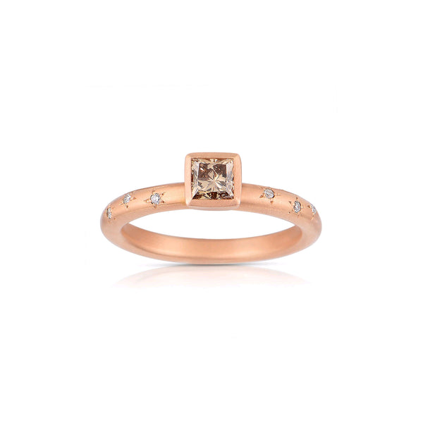 Princess Cut Fancy Brown Diamond Ring, 18K Rose Gold