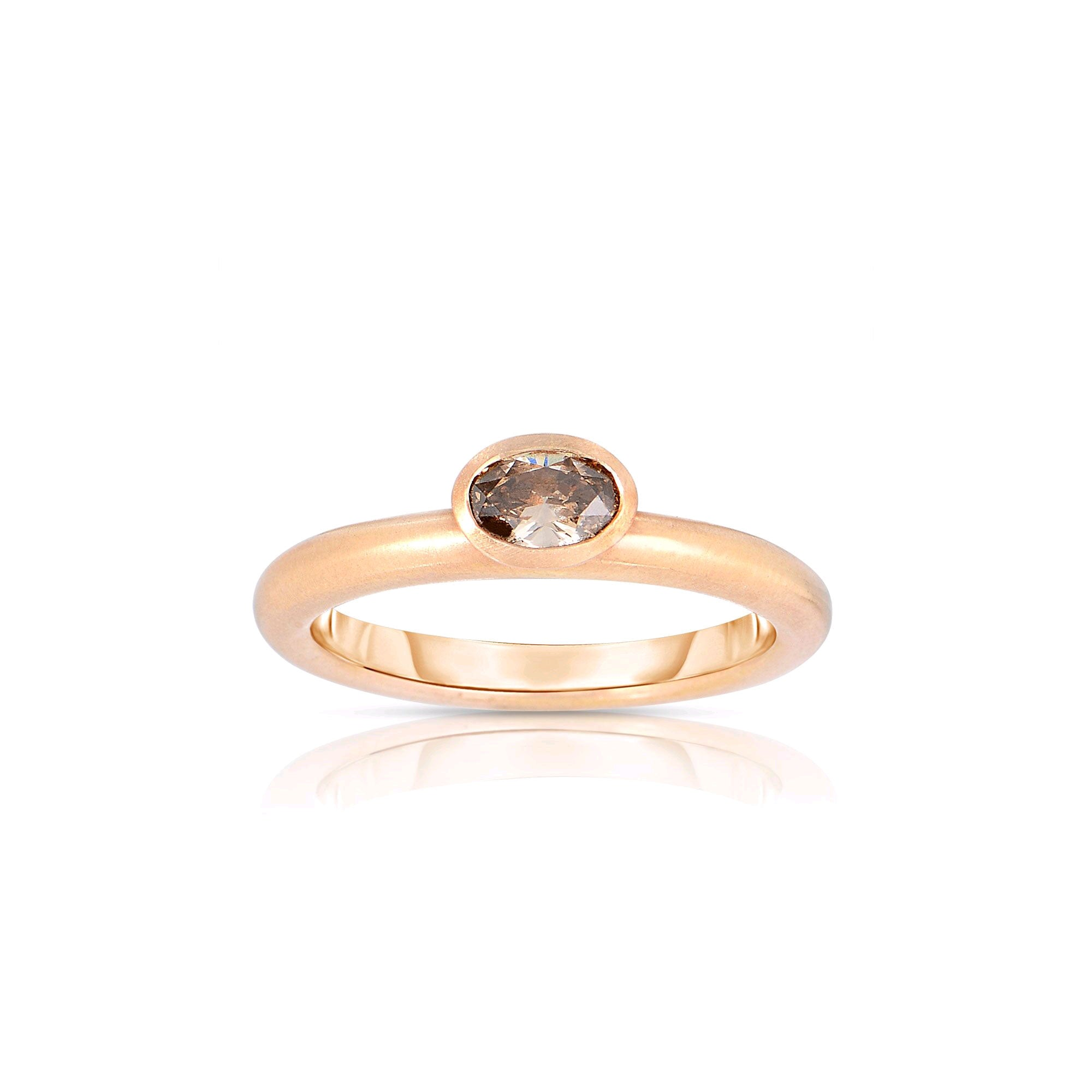 Oval Fancy Brown Diamond Ring, 18K Rose Gold