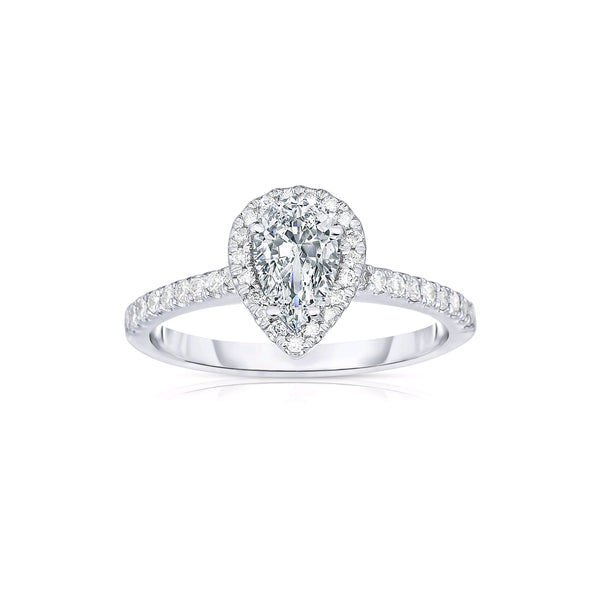 Pear Shape Diamond Halo Ring, Platinum