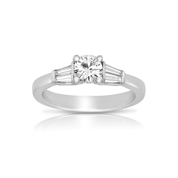 Diamond Ring with Tapered Baguettes, 14K White Gold