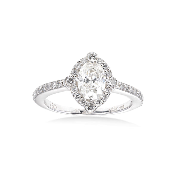 Oval Diamond Halo Ring, 1 Carat Center, 14K White Gold