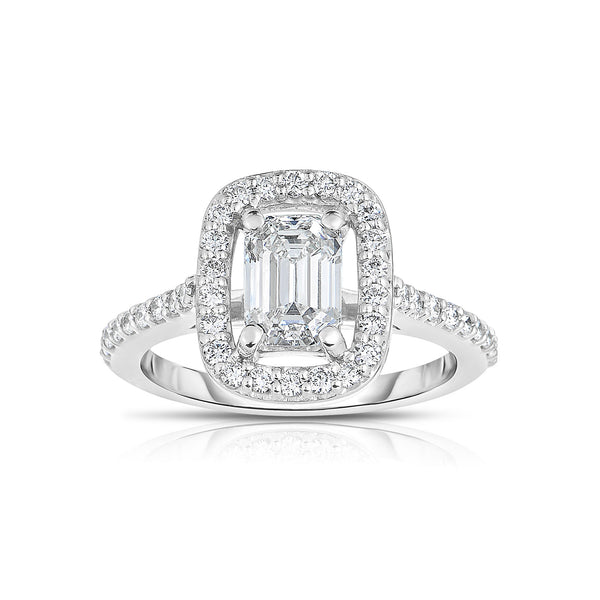 Emerald Cut Floating Diamond Ring, 14K White Gold