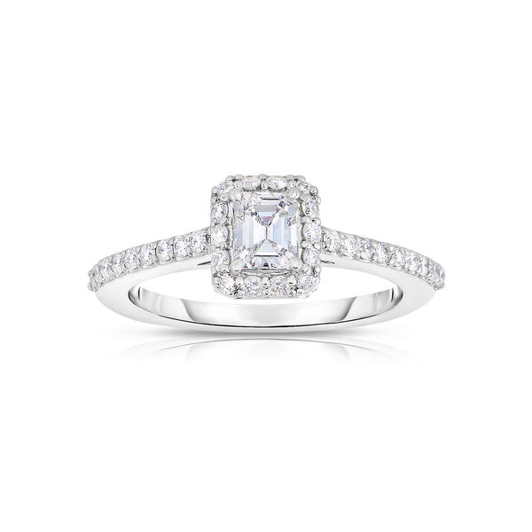 Emerald Cut Diamond Ring with Halo, 18K White Gold
