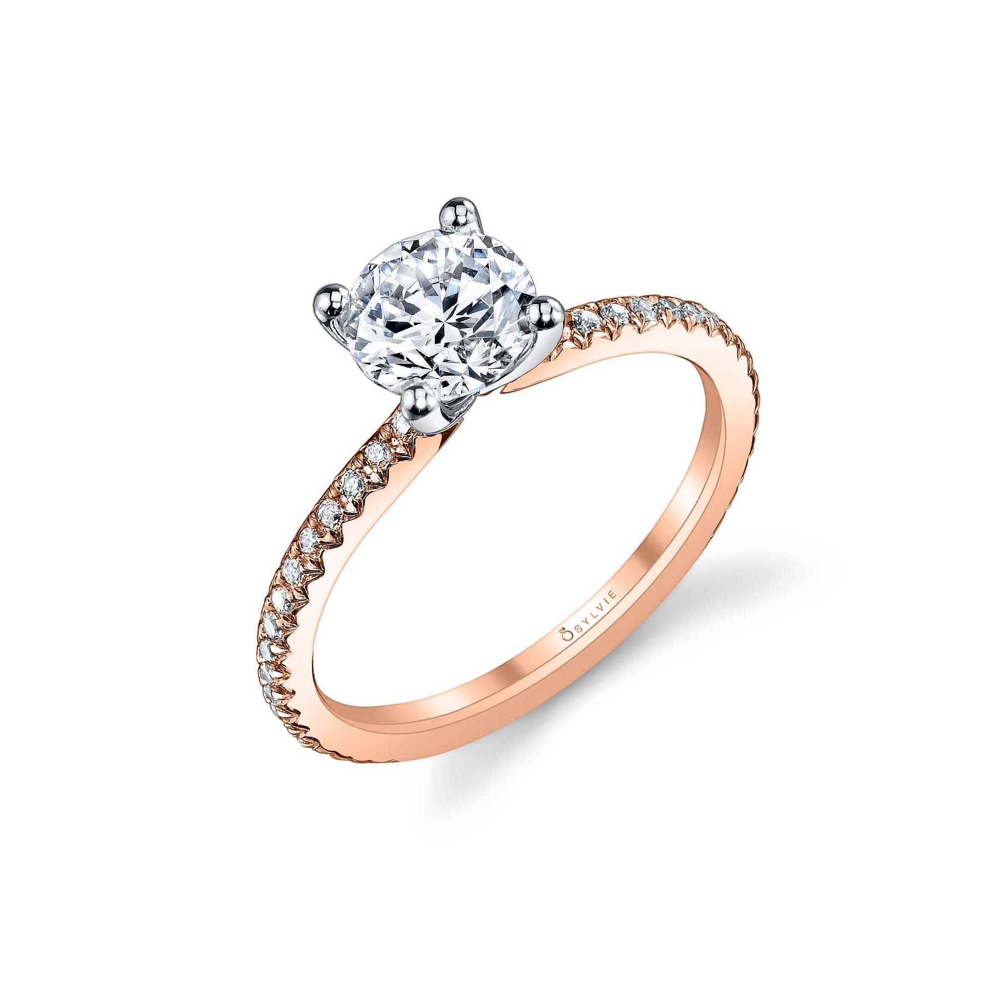 Ring Mounting by Sylvie for 1 Carat Center, 14K Rose Gold