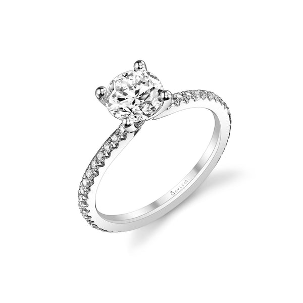 Ring Mounting by Sylvie for 1.50 Carats Center, 14K White Gold