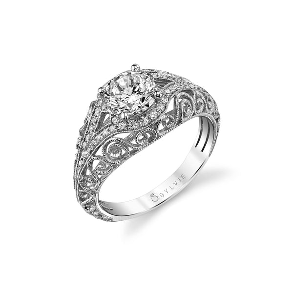 Ring Mounting, Openwork Design by Sylvie, 14K White Gold