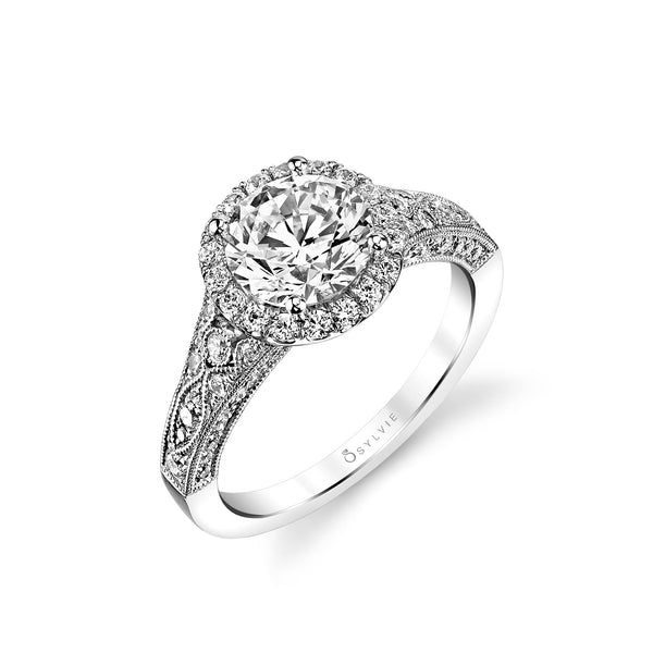 Vintage Halo Style Diamond Ring Mounting by Sylvie, 14K White Gold