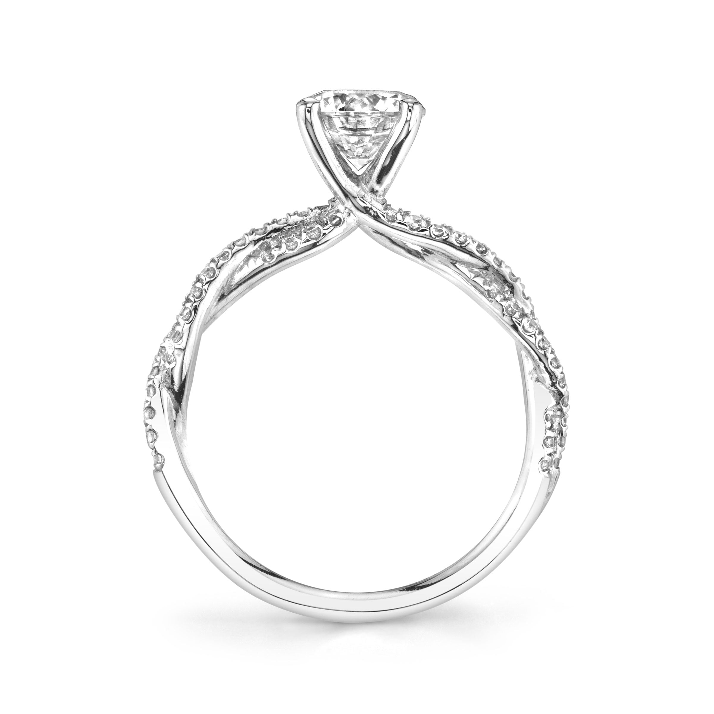 Ring Mounting with Twist Design by Sylvie, 14K White Gold