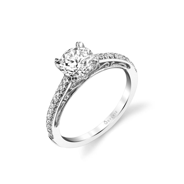 Round Diamond Ring Mounting by Sylvie, 14K White Gold