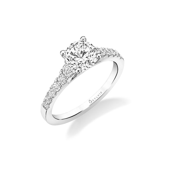Four Prong Ring Mounting by Sylvie, 14K White Gold