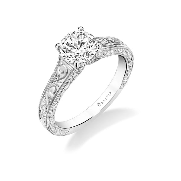 Ring Mounting with Scroll Design by Sylvie, 14K White Gold