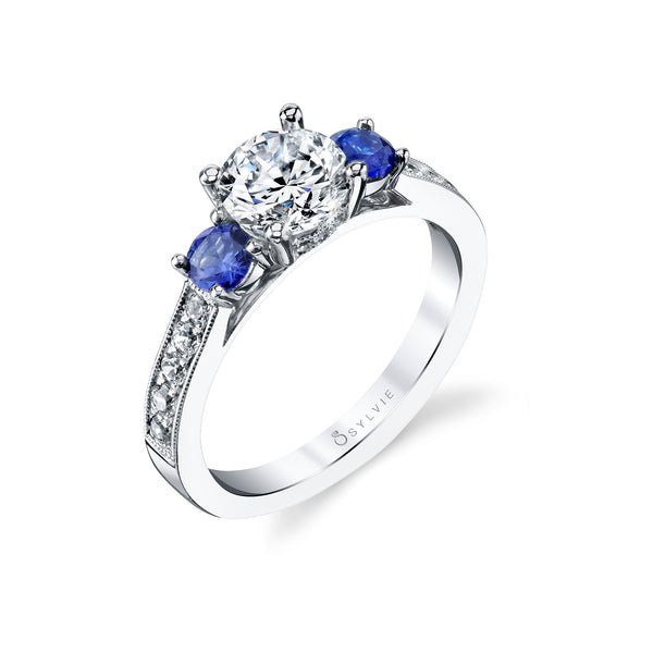 Diamond and Sapphire Ring Mounting by Sylvie, 14K White Gold