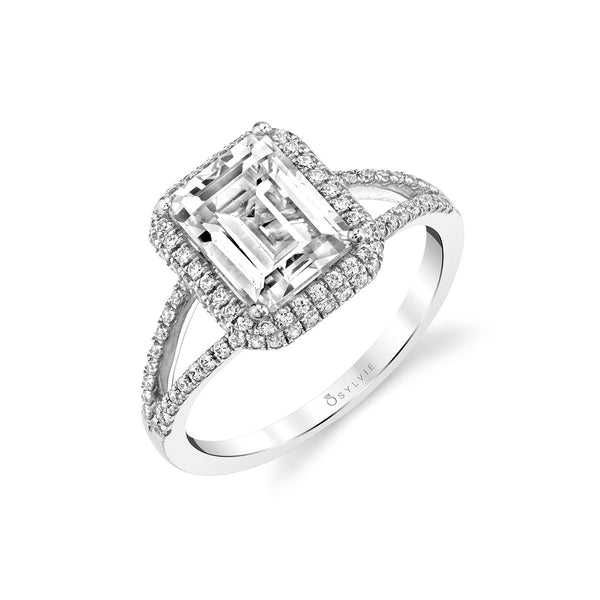 Emerald Cut Ring Mounting by Sylvie, 14K White Gold