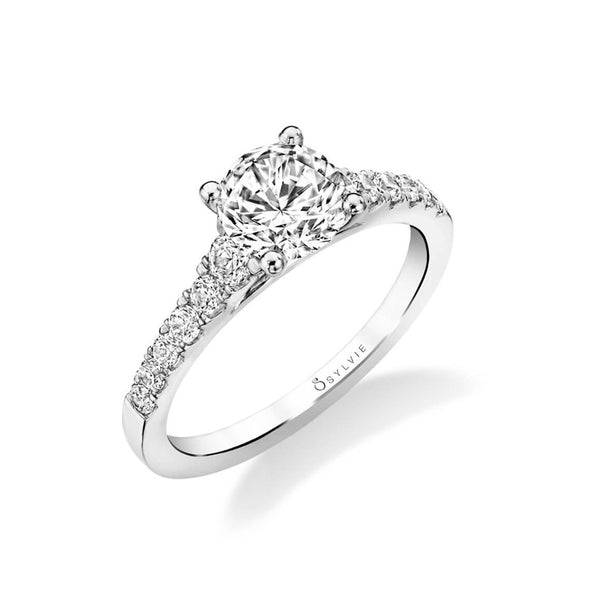 Round Diamond Engagement Ring, 1.19 Carats Center, 14K White Gold