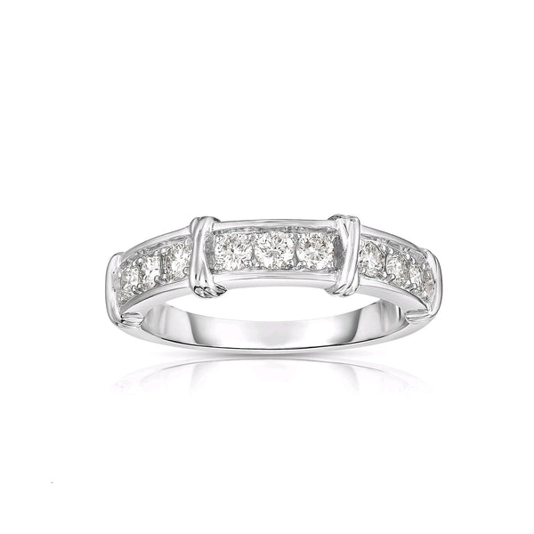 Sectioned Diamond Band, 14K White Gold
