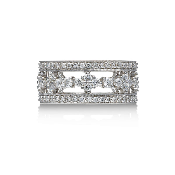 Detailed Design Diamond Band, 1.33 Carats, 18K White Gold