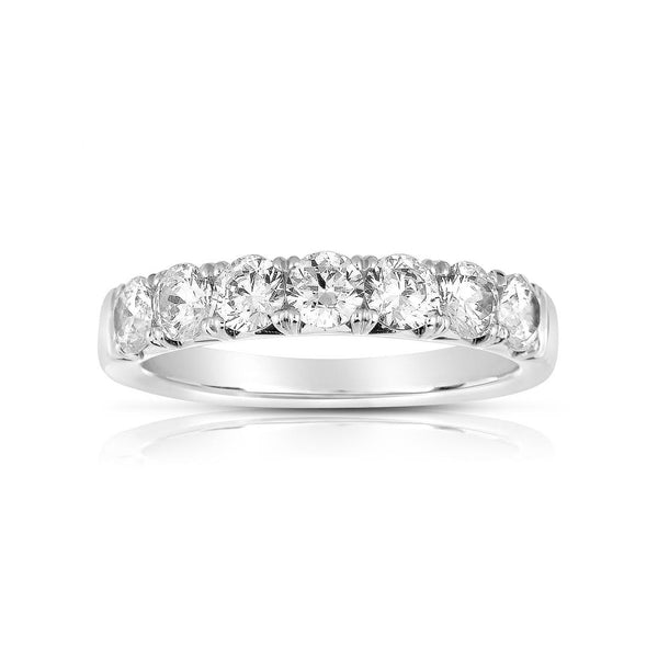 Seven Stone Diamond Band, .98 Carat, 14K White Gold