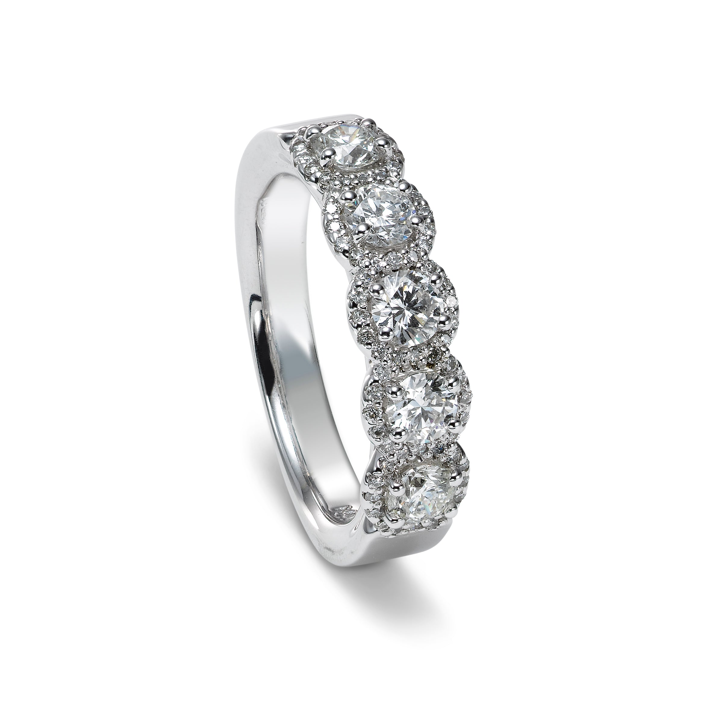 Five Stone Diamond Halo Band, 14K White Gold