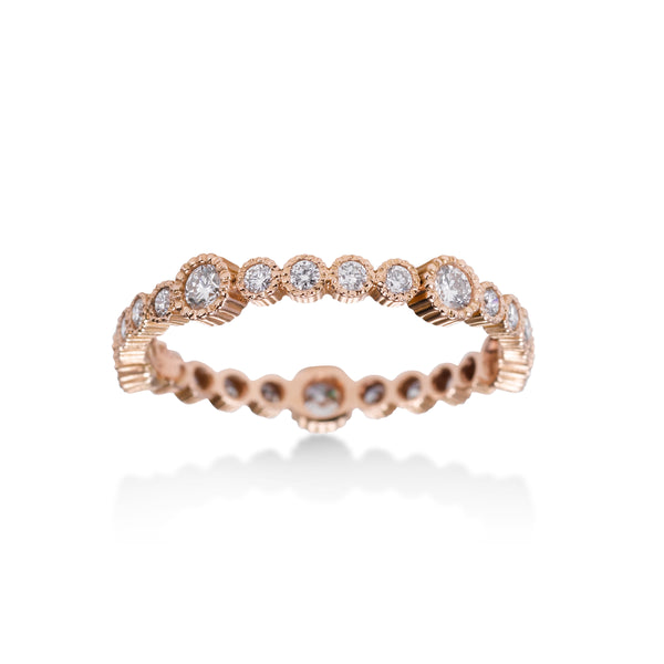 Bezel Set Diamond Eternity Band, 14K Rose Gold