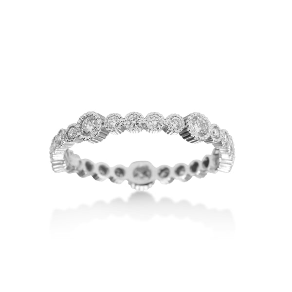 Bezel Set Diamond Eternity Band, 14K White Gold