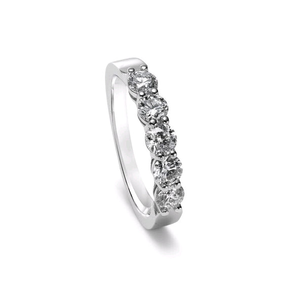 Five Stone Shared Prong Diamond Band, 1 Carat Total, 14K White Gold