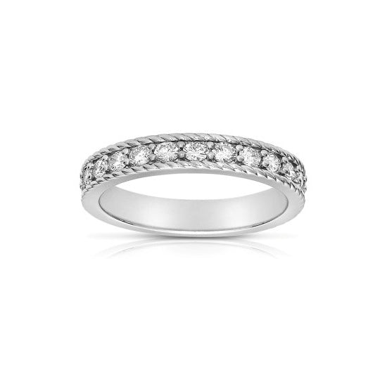 Shared Prong Diamond Band with Rope Detail, 14K White Gold