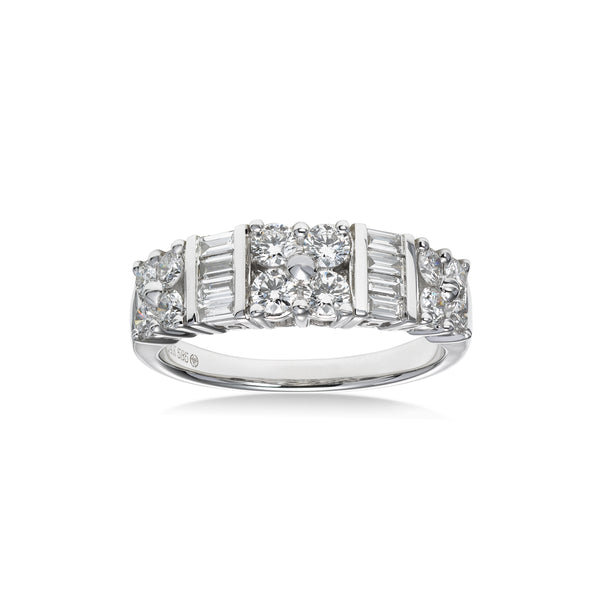Round and Baguette Diamond Ring, 14K White Gold