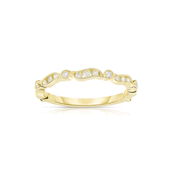 Milgrain Detail Diamond Ring, 14K Yellow Gold