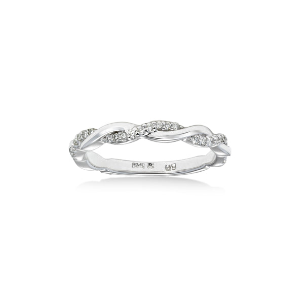 Diamond Twist Design Ring, 14K White Gold