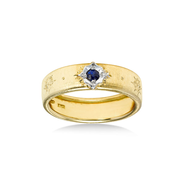 Sapphire In Florentine Finish Ring, 18 Karat Gold