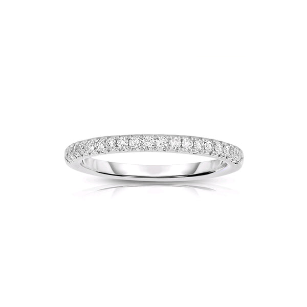 Halfway Shared Prong Diamond Band, 14K White Gold