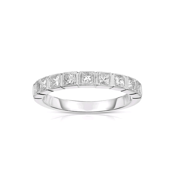 Halfway Princess Cut Diamond Band, 14K White Gold
